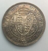 Great Britain 1893 Old Veiled Head Queen Victoria Half Crown nice Coin Colour