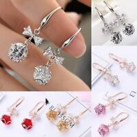 Fashion Sapphire Cute Round Star Bow Drop Dangle Silver Earrings Wedding Gifts