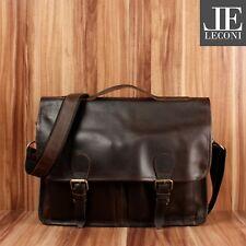 LECONI Aktentasche Businesstasche Messenger Bag Leder dunkelbraun LE3009-wax