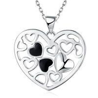 Herzkette Herz-Anhänger Damen-Kette Halskette Rolokette Geschenke für Frauen