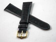 Mens Hirsch Duke 20mm Watch Band Black Leather Vintage Allergy & Water Resistant