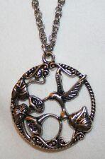 Delightful Openwork Hummingbird Morning Glories Silvertone Pendant Necklace