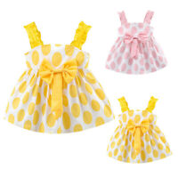 Toddler Baby Girls Kids Strap Dress Bow Dot Print Summer Dress Princess Dresses