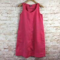 J. Jill Pink Salmon Sleeveless 100% Linen Dress w/ Pockets Size XS