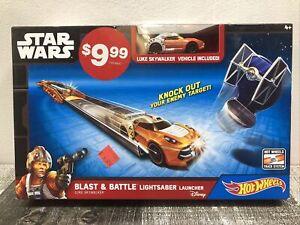 Star Wars Hot Wheels Blast & Battle Lightsaber Launcher Luke Skywalker Car