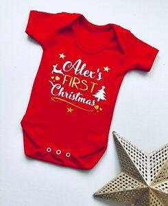 PERSONALISED unisex baby1st CHRISTMAS red clothing vest babygrow ANY NAME