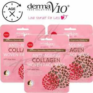 3X DermaV10 Anti-Ageing Woven Face Mask  Aloe Vera FOR ALL SKIN TYPES