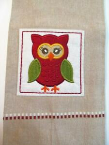 Kitchen Dish or Tea Towel Cotton 16 x 29 Embroidered & Appliqued with OWL on Tan
