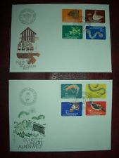 BUTTERFLIES LIECHTENSTEIN 2x FDC cover 1973-74 endangered animals reptils snakes