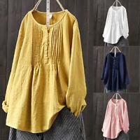 Women Long Sleeve Blouse Cotton Linen Buttons Baggy Tops Loose t Shirt Plus Size