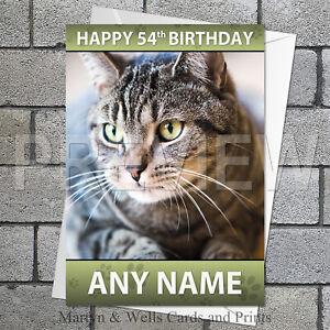 Grey Tabby Cat birthday card. 5x7 inches. Cat, Kitten, Feline. Personalised.