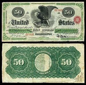 NICE CRISP UNC. 1864 U.S. $50.00 GREENBACK BANK COPY NOTE! READ DESCRIPTION