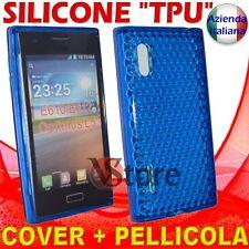 Cover Custodia Per LG L5 Optimus E610 Blu Gel Silicone TPU + Pellicola Display