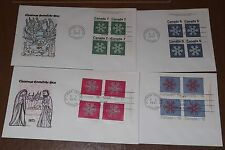 Canada 554-57 Christmas '71 Snowflakes Cole set of Mi4, Fdcs
