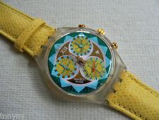 1994 Swiss Swatch Watch Chronograph Lemon Breeze Leather Band SCK106