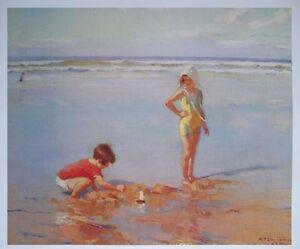 Children on the Beach Poster 1991 - Charles Atamian print - 61cms x 71cms