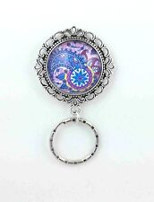 Blue Purple Pink Paisley Magnetic ID Badge Eyeglass Holder, Magnetic Pin Brooch