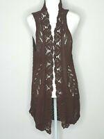 Twin-Set Simona Barbieri Boho Brown Cotton Crochet Sleeveless Cardigan Size M