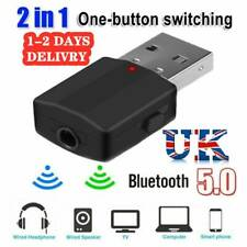 2 in 1 USB Bluetooth 5.0 Transmitter Receiver AUX Audio Adapter for TV PC Car UK