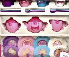 Barbie Tea Set Service for 4 Pink Purple Blue White 29 pieces ages 3+