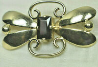 Tiffany &Co Red Garnet Yellow Gold Butterfly Brooch Pin w Orig Box Vintage Rare