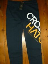 CROSSHATCH JOGGERS CUFFED BOTTOMS SWEATPANTS NAVY SIZE M = W34-36IN APPROX NEW