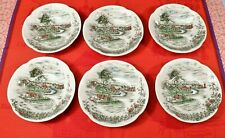"""6 Johnson Bros. THE ROAD HOME Fruit Dessert Bowls 5 1/ 4"""" Made in England"""
