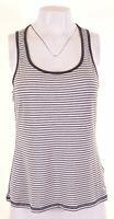 JACK WILLS Womens Vest Top UK 14 Medium White Striped Cotton Slim Fit  LO09