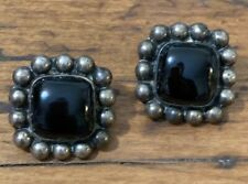 Vintage Taxco TJ-75 Mexican Mexico Sterling Silver Onyx Pierced Earrings