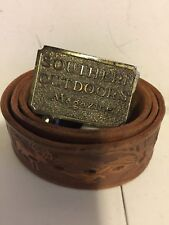 SOUTHERN OUTDOOR MAGAZINE (GREAT AMERICAN BUCKLE CO) BELT BUCKLE W/ LEATHER BELT