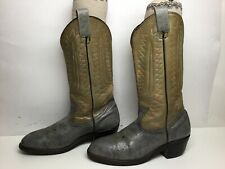 Vtg Mens Unbranded Steel Toe Cowboy Ostrich Print Gray Boots Size 8 E