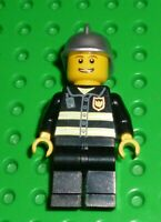 LEGO Minifigure - CTY0173 - CITY - Fire - Reflective Stripes, Black Legs, Silver