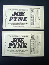 2 Original JOE PYNE SHOW TV Taping Tickets KTTV Channel 11 Good Sat. 6.21.1969