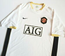 NIKE SPHERE MANCHESTER UNITED AIG SPONSOR WHITE & GOLD SOCCER JERSEY SZ.XL! USED