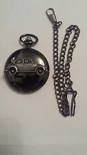 VW Beetle 1200 ref290 emblem polished black case mens pocket watch