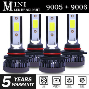 9005+9006 3200W 520000LM Combo LED Headlight High/Low Beam 6000K White 4 Bulbs