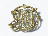 19thC LIVERY Crest - MONOGRAM INITIALS ? Horse Brass Badge  #HB60