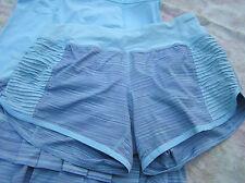 Lululemon 4 Bright At Night Short Caspian Blue Twisted Stripe Reflectors EUC