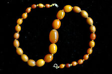 """Antique +100 Years Old Chinese Butterscotch Amber Necklace 23.25 grams 16.5"""""""