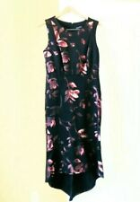 NWT Floral Metallic Print Neoprene size 10P Black Cocktail Party Sheath DRESS