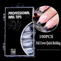 Clear Nail Forms Acrylic False Fake Nails Full Cover Quick Building Mold Tips