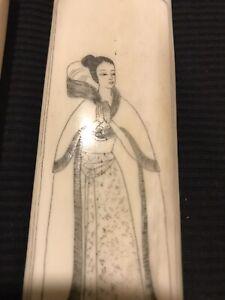 Oriental Girl Scrimshawed on Bone Box, Vintage, Handmade