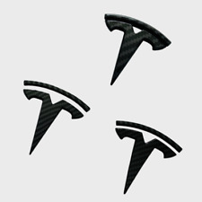 Black Carbon Fiber Tesla Car Front Rear Steering Wheel Logo Emblems For Model 3