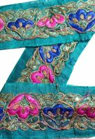 Vintage Sari Border Antique Hand Beaded 1 YD Indian Trim Sewing Green Decor Lace