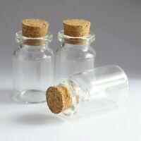 Diameter of 22mm Tiny Wishing Glass Bottles Vial with Cork Clear Empty Lots