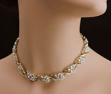 "Vintage AB Rhinestone Choker Necklace CORO 17"" Gold Tone Floral Leaf Necklace"