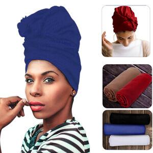 Head Wrap Scarfs - African Scarf Hair Ties - Long Stretch Sizing Scarfs Plain US