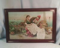 "Vtg Pirate Merchant Seaman Lady Embroidering ""The Old Old Story"" framed print"