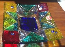 Italian Murano Multicolor Art Glass Square Dish w/ Murrine Cane Flowers