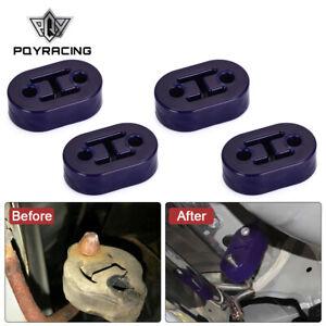 4pcs Universal Car Polyurethane Rubber 2 Hole 10mm Exhaust Muffler Hanger BLUE